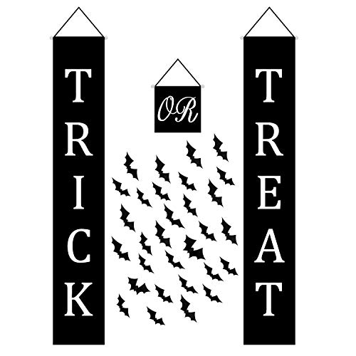 Resinta Halloween Trick or Treat Banner Set Halloween Hanging Banner with Large Bat Stickers Decoration Home Indoor Outdoor Banner Signs Decor Ready to Welcome Kids -