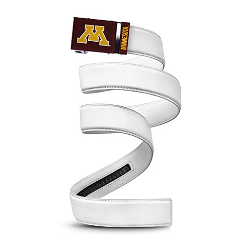 (NCAA Minnesota Golden Gophers Mission Belt, White Leather, Custom (up to 56))