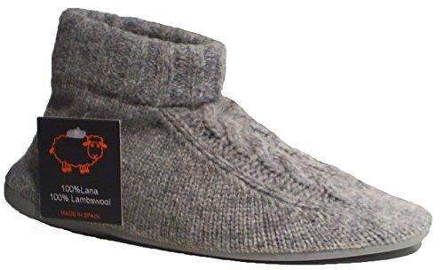 Natural World Hausschuhe Schafwolle Gummisohle grau