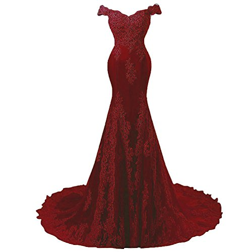 Off Shoulder Mermaid Long Lace Beaded Prom Dress Evening Gowns Custom Made Wine Red -