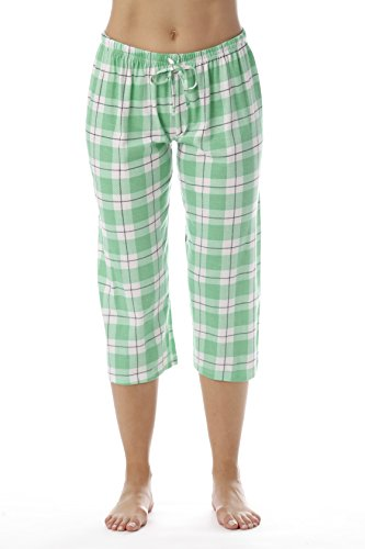 Ladies Green Pants Pajama Plaid (Just Love Womens Pajama Plaid Capri Pants Sleepwear 6331-10018-MNT-XL)