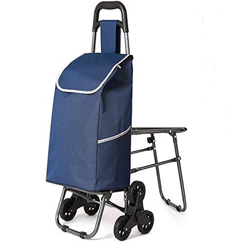 PSHjs Portable Trolley Shopping Cart, Can Sit with A Seat, Folding Trolley Waterproof Shopping Bag (Color : Navy)