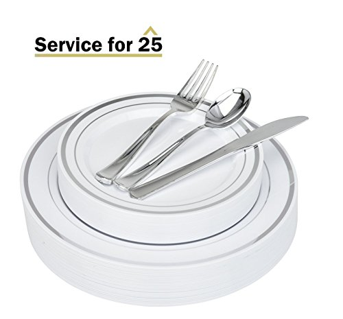 Stock Your Home Elegant 125 Piece Silver Rim Plastic Place Setting Set with Silverware - Solid, Disposable & Heavy-duty Includes: 25 Dinner Plates, 25 Dessert Plates, 25 Forks, 25 Knives, 25 (Plastic Set)