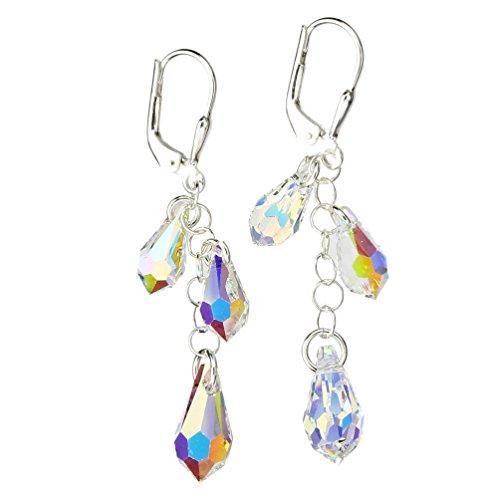 Sterling Silver Earrings Aurora Borealis Multi-Teardrop Made with Swarovski -
