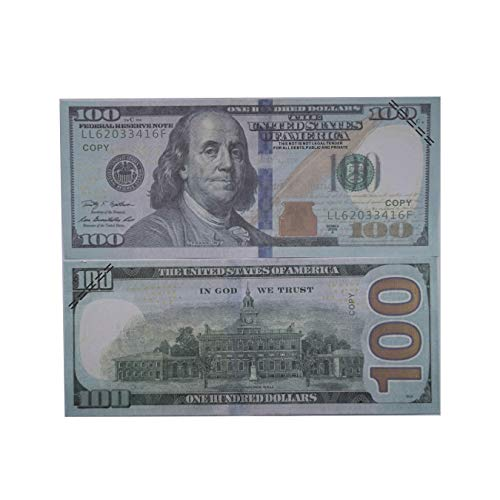 WLIFE Movie Prop Money Full Print 2 Sided Motion Picture Money 100 Dollar Bills Realistic Money Stacks,Copy Money Play Money That Looks Real,Toy Money,New Published Thickening