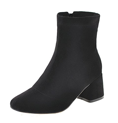 A Scarpe Chiusa Donna Inverno Stivali Blocco Tacco Nero Shoes Ageemi Cerniera StqXx
