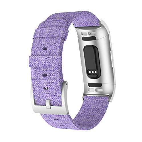 Junboer Compatible Fitbit Charge 3 Bands, Woven Fabric Breathable Watch Strap Quick Release Replacement Wristband