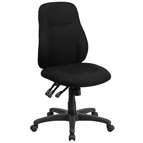 Flash Furniture Mid-Back Black Fabric Multifunction Ergonomic Swivel Task Chair