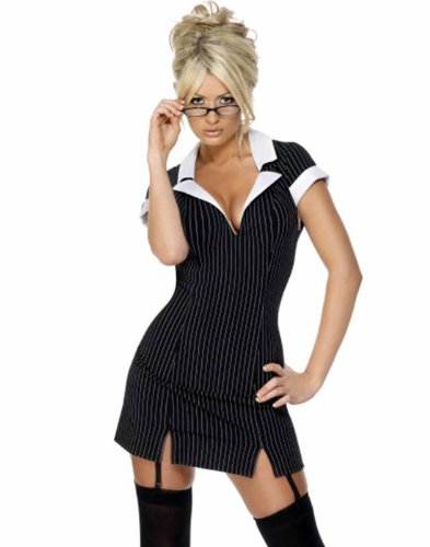 Smiffy's Secretary Pin Stripped Women's Mini Dress Costume With Glasses