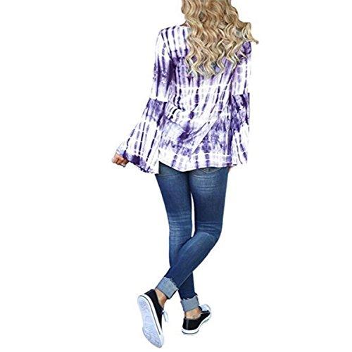Basique Blouses Casual Chemises Manches Col Shirt Femme T Tops Longues Flare Purple V WwgvZ
