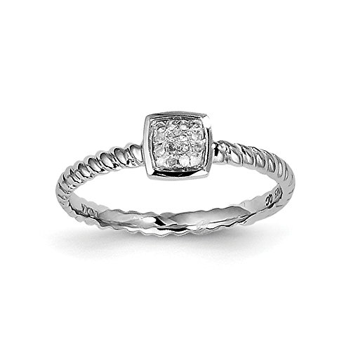 Sterling Silver Rhodium White Diamond Stackable Ring Size 8 by Jewels By Lux