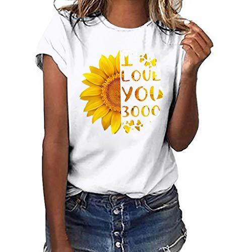 Sumen Women Casual T Shirt I Love You Sunfrower Printed Short Sleeve T Shirt White