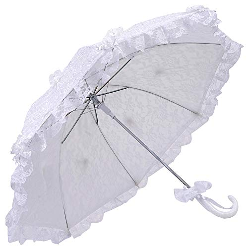 White Beautiful Lace Parasol with Flower Decor Wedding Bridal Party Decoration Photograph Props Bride Wedding Umbrella (Parasol Deluxe Lace)