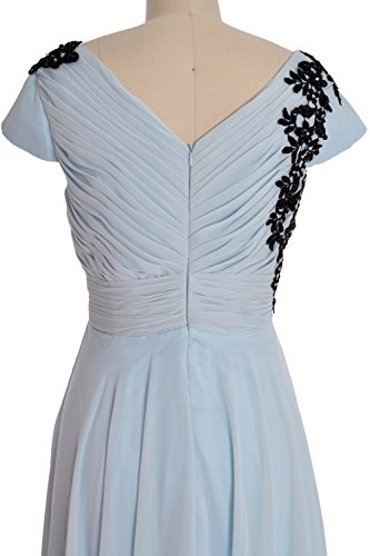 MACloth Women Cap Sleeve Long Mother of Bride Dress Wedding Party Formal Gown Verde