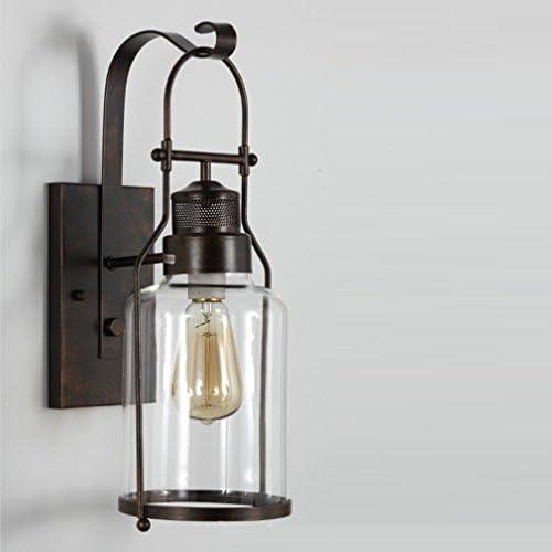 Rustikal Wandleuchte, Retro Landhaus Stil Wand-Beleuchtung, Minimalistischen Glas Lampenschirm Wandlampe, Klassische Antik Wohnzimmer Schlafzimmer Leuchte, 1-Flammig, E27 Fassung, Max. 40W, A