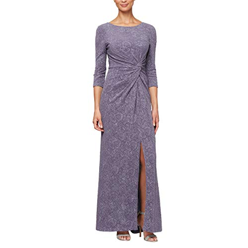 Front Jacquard Dress - Alex Evenings Women's Long Dress with Knot Front Detail (Petite and Regular), Heather, 8
