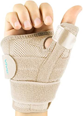Vive Arthritis Thumb Splint - Thumb Spica Support Brace for Pain, Sprains, Strains, Arthritis, Carpal Tunnel & Trigger Thumb Immobilizer - Wrist Strap - Left or Right Hand (Beige)