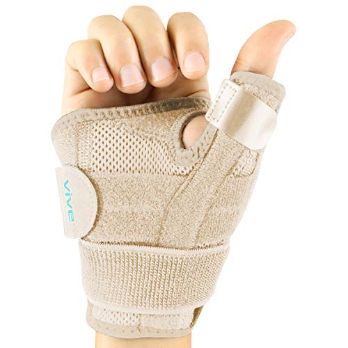 Vive Arthritis Thumb Splint - Thumb Spica Support Brace for Pain, Sprains, Strains, Arthritis, Carpal Tunnel & Trigger Thumb Immobilizer - Wrist Strap - Left or Right Hand -