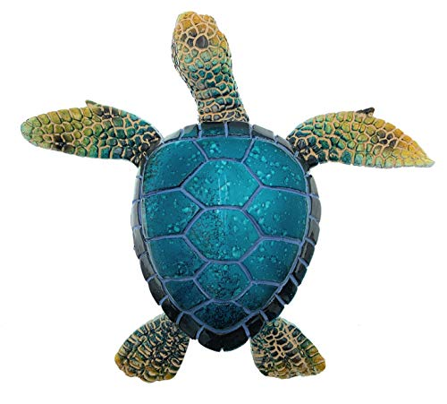 (Globe Imports Blue Sea Turtle Resin Figurine, Tabletop or Wall Mount, Indoor Outdoor Decor, 7 Inches Wide)