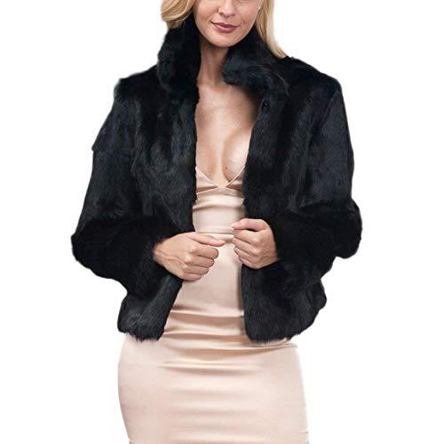 Pelliccia Libero Moda Sintetica Di Eleganti Invernali Schwarz Collo Calda Termico Prodotto Outerwear Giacca Plus Costume Donna Coreana Tempo Solidi Manica Lunga Colori pdfCCqw