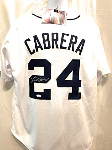 Miguel Cabrera Detroit Tigers Signed Autograph White Custom Jersey JSA Witnessed Certified from Mister Mancave