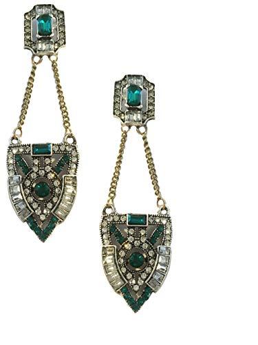 Art Deco Antique Retro Vintage Style Flapper Green Emerald Rhinestone Wedding Bridal Prom Long Dangle Earrings