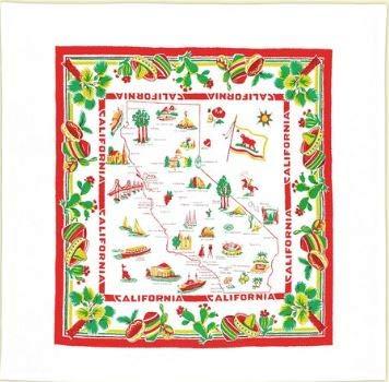 (Vintage Reproduction California Souvenir Tablecloth 1950's)