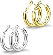 BMMYE Big Chunky Hoop Earrings Howllow Tube Lightweight 14K Gold Plated Thick Huggies Earring for Women 25mm/3