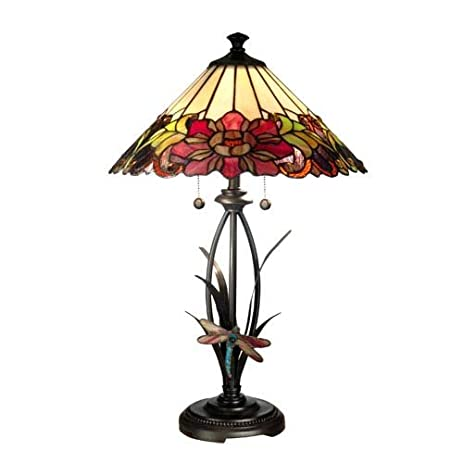 Dale Tiffany TT10793 Floral with Dragonfly Tiffany Table Lamp ...