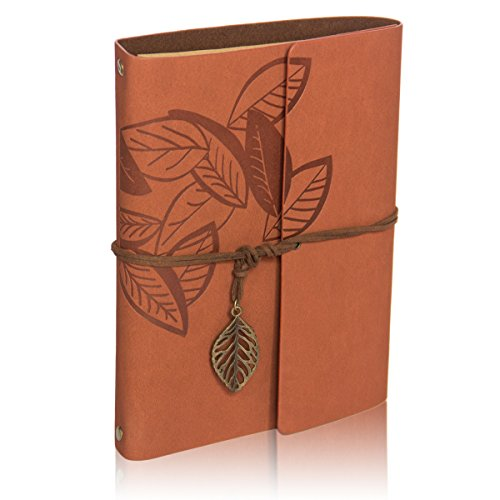Scrapbook Album,Leather Leaf Pattern Vintage Photo Album Family DIY Memory Retro Photo Book Guestbook for Anniversary Mother Birthday Valentine 60 Pages(Maple Red)