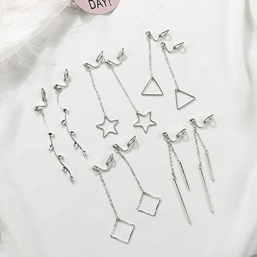 no Pierced Ear Clip Earrings Earring Dangler Eardrop Five Sets Style Women Girls Five-Piece Gift Woman Short Hair Student Tassel (Value Package Twelve