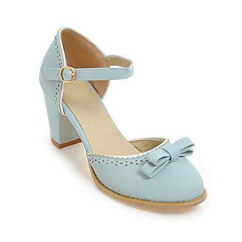 Sandalias Señaló Blue Tacones Al amp;x Bloque Tobillo Toe La Mujer Qin HxS4qS