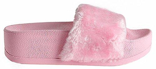 Lusthave Open Teen Glijden Op Slip Op Bont Street Fashion Sandalen Flip Flop Slippers Roze Platform