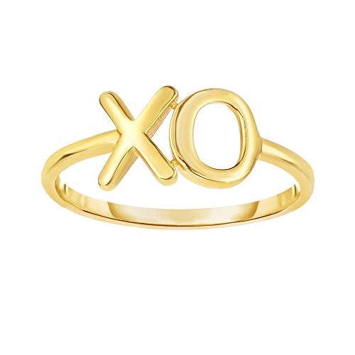 14k Yellow Gold Size 7 Polish Finish Xo Ring by Diamond Sphere