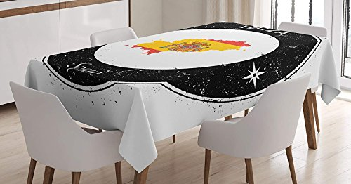 BMALL Cotton Linen Tablecloth Grunge Monochrome Round Frame with Compass Stars and Spain Flag Motif Table Cover for Kitchen Dinning Tabletop Decoration 53X70inch by BMALL