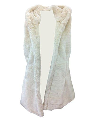 ZongSen Women Long Fluffy Faux Fur Hooded Gilet Vest Warm Waistcoat Outerwear Jacket Coat Apricot