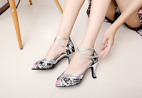 Cross UK Style Dance Strap MINITOO Silver Shoes M Ballroom Latin 7 Women's QJ6207 Lace WtTWSOfn