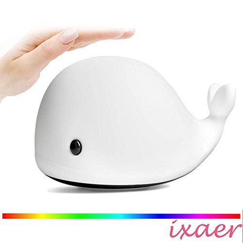 (ixaer Dolphin/Whale LED Night Lights, Soft Silicone Beside Lamp USB Charging Nursery Tap/Mystery Whale Night Light/Soft Silicone LED Relaxing Sleeping Soothing Toy.)
