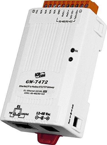 ICP DAS USA ICP-GW-7472 Ethernet/IP to Modbus RTU / Modbus TCP PoE Gateway, Compatible with Allen Bradley Modules.