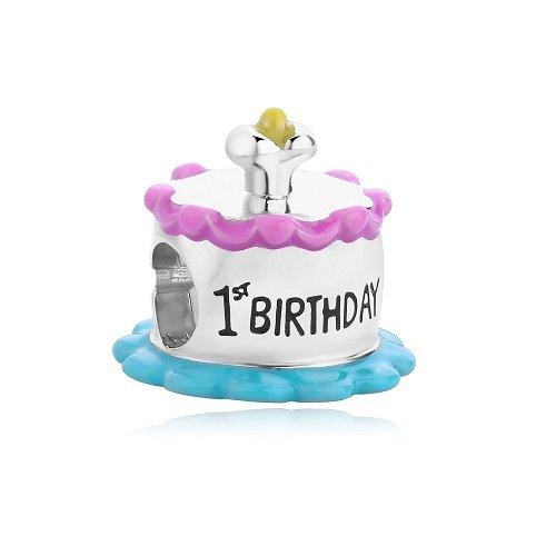 (Bella & Beau Polished Silver Charm - 1st Birthday (Birthstone and Birthday Collection))