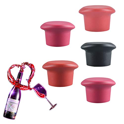 (Silicone Wine Stopper, Silicone Reusable Wine Bottle Stopper/Beer Sealer Cover, Assorted Colors Silicone Wine Bottle Caps,Wine Accessories GiftSet of 5)