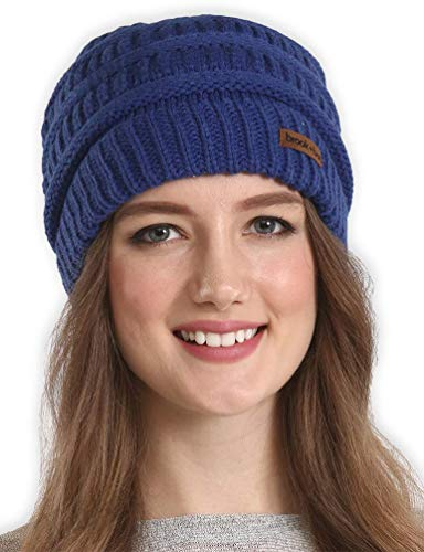 Brook + Bay Cable Knit Multicolored Beanie Stay Warm & Stylish This Winter - Thick, Soft & Chunky Beanie Hats for Women & Men - Serious Beanies for Serious Style (Navy Blue)