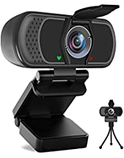 HD Webcam 1080P with Microphone, PC Laptop Desktop USB Webcams, Pro Streaming Computer Camera, 110-Degree Widescreen