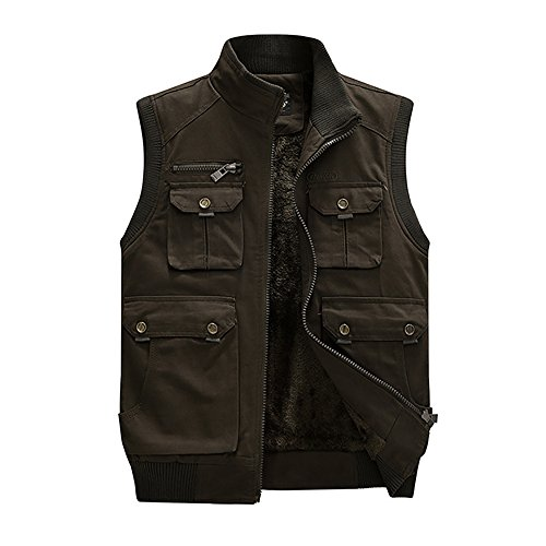Cotton Velvet Vest (Mens Jeep Vest Velvet Inside Outdoor Multifunctional Pocket Cotton Vest (XL, Dark Army))