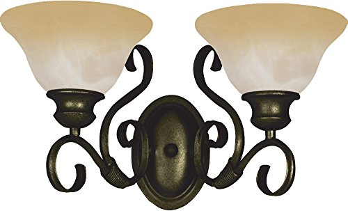 Maxim Lighting 8020WSKB Two Light Wilshire Glass Vanity, Kentucky (Kentucky Bronze Vanity Light)