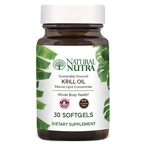 Natural Nutra Krill Oil 500mg with Astaxanthin, Omega 3 Fatty Acids, EPA and DHA, Antarctic Sourced and Friend of the Sea Certified, Environmentally Friendly Premium Glass Bottles, 30 Capsules