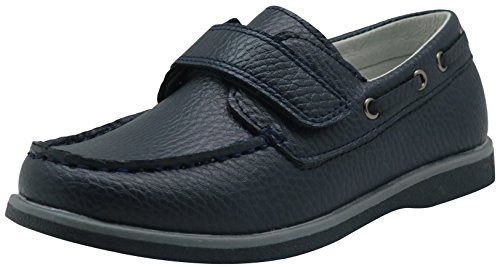 Apakowa Kids Boys Loafers Casual Slip On Boat Shoes with Strap (Toddler/Little Kid/Big Kid) (Color : Navy, Size : 13 M US Little Kid) ()