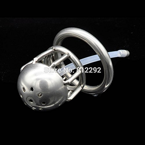 Hetam Shortest Male Chastity Cock Cage Sex Slave Penis Lock Anti-Erection Device With Removable Urethral Sounding Catheter by Hetam