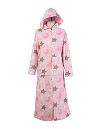 hot new products preview of cheap price Ladies Soft Fleece Zip Up Dressing Gown Womens Hooded ...