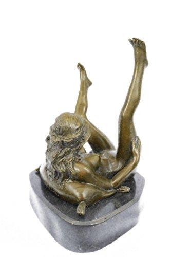 Handmade European Bronze Sculpture Erotic Woman Fantasy by
